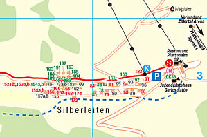 Local plan of Hochkrimml / Silberleiten at Ziller Valley Arena / Austria